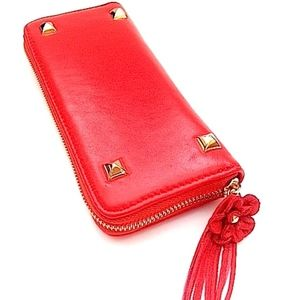 Red Stud Smooth Leather Zip Around Wallet